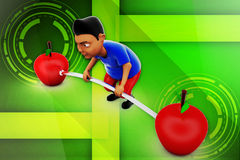 3d man lifting apple illustration Stock Image