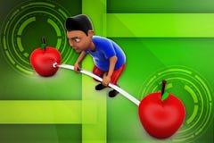 3d man lifting apple illustration Stock Photography