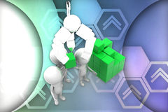 3d man lifting cargo illustration Royalty Free Stock Photos