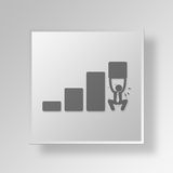 3D  Man Lifting Chart Button Icon Concept Stock Images