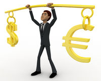 3d man lifting dollar ad euro up in air concept Stock Photography