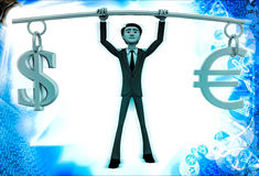 3d man lifting dollar ad euro up in air illustration Royalty Free Stock Image