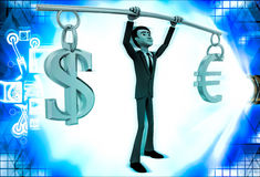 3d man lifting dollar ad euro up in air illustration Royalty Free Stock Images