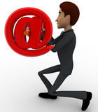 3d man lifting dumbel made of red email symbol concept Stock Photo