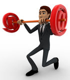 3d man lifting dumbel made of red email symbol concept Royalty Free Stock Images