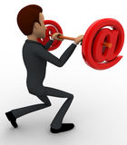 3d man lifting dumbel made of red email symbol concept Stock Photography