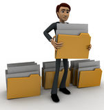 3d man lifting folder concept Royalty Free Stock Images