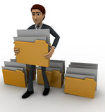 3d man lifting folder concept Royalty Free Stock Image