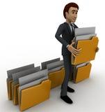 3d man lifting folder concept Stock Photography