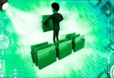3d man lifting folder illustration Royalty Free Stock Photography