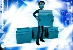 3d man lifting folder illustration Stock Image
