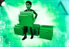 3d man lifting folder illustration Royalty Free Stock Images