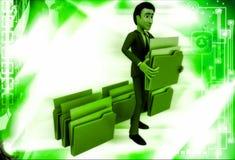 3d man lifting folder illustration Stock Photography