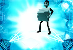 3d man lifting folders illustration Stock Photo