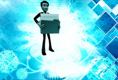 3d man lifting folders illustration Royalty Free Stock Photos