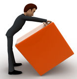 3d man lifting orange box concept Royalty Free Stock Photography