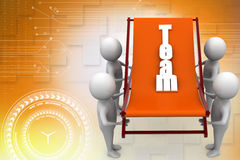 3d man lifting a team chair Stock Photography