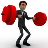 3d man lifting weight concept Stock Photo