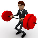 3d man lifting weight concept Stock Photography