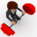 3d man lifting weight concept Royalty Free Stock Images