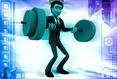 3d man lifting weight illustration Royalty Free Stock Image