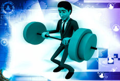 3d man lifting weight illustration Stock Images