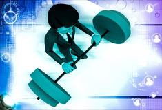 3d man lifting weight illustration Stock Photo