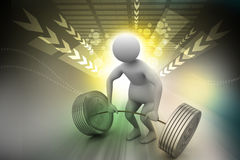 3d man lifting weights Royalty Free Stock Photo