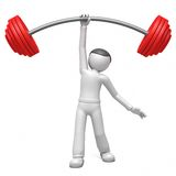 3d man  lifting weights. Isolated on a white background Stock Photo