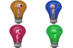 3d man lightbulb on hand icon Stock Images