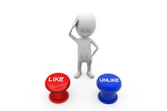 3d man like dislike concept Stock Photography