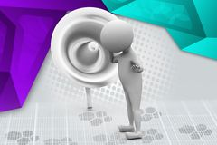 3d man listen illustration Royalty Free Stock Photography