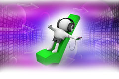 3D Man listening music with headphones Royalty Free Stock Photo