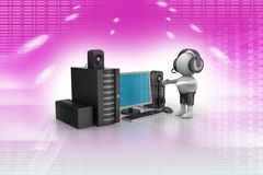 3D Man listening music with music system Royalty Free Stock Photography
