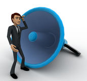 3d man listening to big blue speaker concept Royalty Free Stock Photography