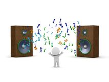 3D man listening to two huge speakers Royalty Free Stock Image