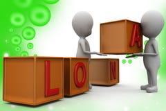 3d man loan cube  illustration Stock Image