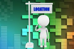 3d man location illustration Royalty Free Stock Photos
