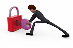 3d man with lock and key concept Stock Photography