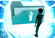 3d man with locked file and he is about to unclock it with key illustration Royalty Free Stock Photos