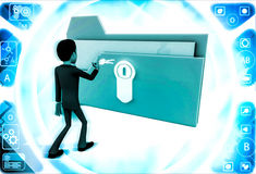 3d man with locked file and he is about to unclock it with key illustration Royalty Free Stock Photography