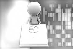 3d man locked hard disk illustration Stock Images