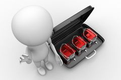 3d man with locked house inside briefcase Royalty Free Stock Photography