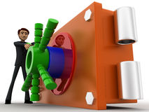 3d man with locker shef concept Stock Image