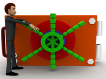 3d man with locker shef concept Royalty Free Stock Images