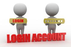 3d man with log in Account concept Royalty Free Stock Image