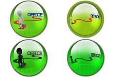 3D Man long way to office concept icon Royalty Free Stock Photography