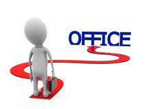 3d man long way to office concept Stock Photo