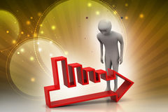 3d man looking the arrow going to down. In color background Royalty Free Stock Photography