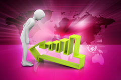 3d man looking the arrow going to down. In color background Royalty Free Stock Photo